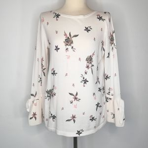 LOFT Floral Print Bell Wrist Knit Cream Top
